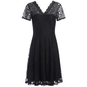 Robe dentelle V devant dos Noir Viscose - Femme Taille 38 - Bréal