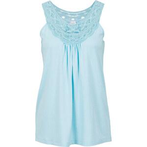 BODYFLIRT Top à dentelle bleu sans manches femme - bonprix