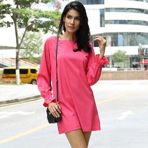 Lesara Kurzes Kleid mit Bischofsärmeln - Pink - S