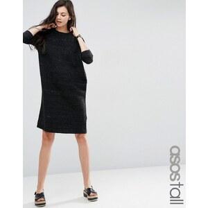 ASOS TALL - Robe pull en maille avec manches à surpiqûres effet vagues - Gris