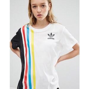 adidas Originals - Primary - T-shirt oversize à trois bandes avec empiècement en tulle - Blanc