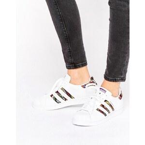 Adidas Originals X Farm - Superstar - Baskets à imprimé motif crochet - Blanc - Blanc