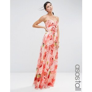 ASOS TALL - Robe longue bandeau à fronces et imprimé floral pour mariage - Multi