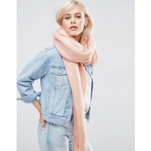 ASOS - Écharpe longue à franges en tricot ultra doux - Rose