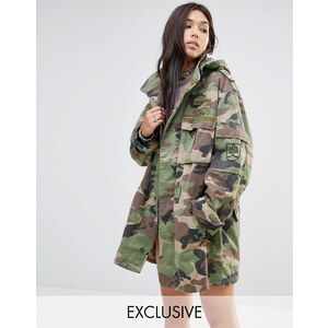 Milk It Vintage - Übergroße Military-Jacke in Camouflage-Design - Grün
