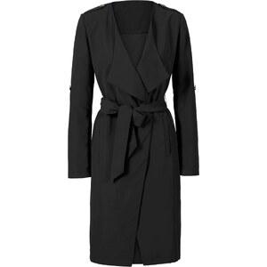 BODYFLIRT Trench-coat léger avec ceinture en tissu noir manches longues femme - bonprix