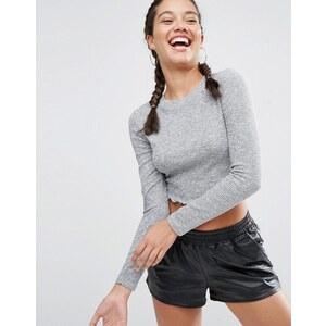 ASOS - T-shirt court à manches longues et col ras du cou - Gris