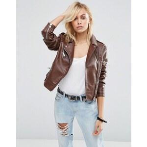 ASOS Textured Leather Look Biker Jacket - Marron