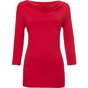 BODYFLIRT Wasserfallshirt 3/4 Arm in rot für Damen von bonprix