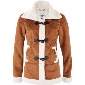 bpc bonprix collection Velourlederimitat-Jacke langarm in braun für Damen von bonprix