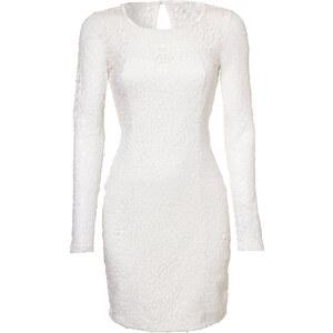 BODYFLIRT Paillettenshirtkleid langarm in weiß von bonprix