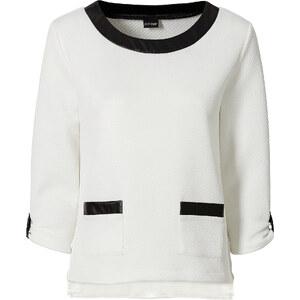 BODYFLIRT Sweatshirt 3/4 Arm figurumspielend in weiß (Rundhals) für Damen von bonprix