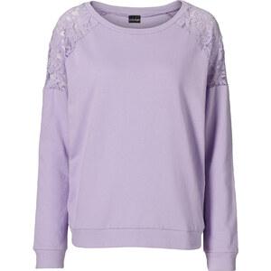 BODYFLIRT Sweatshirt mit Spitze in lila für Damen von bonprix