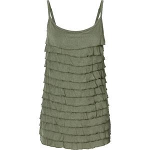 RAINBOW Volant-Shirttop ohne Ärmel in grün für Damen von bonprix