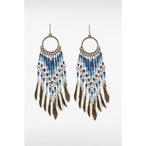 Boucles d'oreilles perles ethniques Bleu Metal - Femme Taille TU - Bonobo
