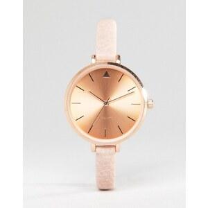 ASOS - Montre-bracelet à gros cadran avec détails couleur or rose - Crème