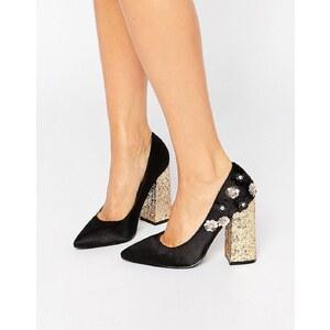 Daisy Street - Chaussures pointues pailletées à talons avec motif fleurs - Multi
