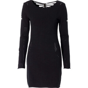 Kleid langarm sehr figurbetont in schwarz (Rundhals) von bonprix
