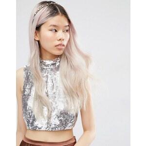 ASOS - Haarreif mit Blättern und Perlen - Cremeweiß