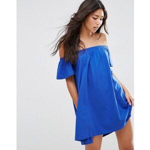 ASOS - Robe courte à épaules dénudées - Bleu