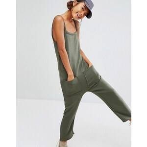 Daisy Street - Combishort en jersey avec ourlet brut et poches - Vert