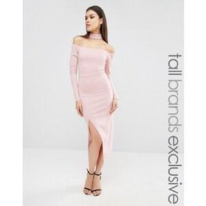 Naanaa Tall - Robe fourreau style Bardot avec col et fente sur la cuisse - Violet