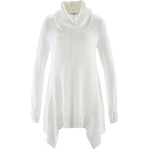bpc bonprix collection Pull asymétrique à col roulé blanc manches longues femme - bonprix