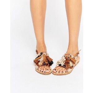 Glamorous - Sandales plates à pompons - Multicolore doré - Doré