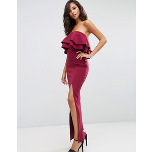 ASOS Premium - Robe longue bandeau en néoprène à fronces - Rouge