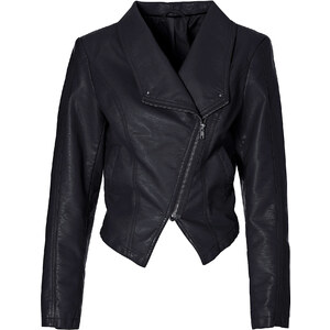 BODYFLIRT Lederimitat Jacke langarm in schwarz für Damen von bonprix