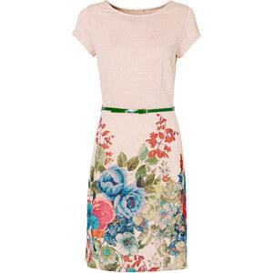 BODYFLIRT Shirtkleid mit Gürtel/Sommerkleid kurzer Arm in natur von bonprix