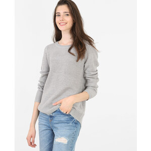 Pull col rond gris chiné, Femme, Taille L -PIMKIE- MODE FEMME