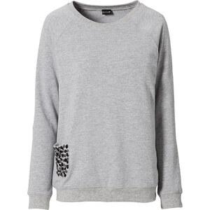 BODYFLIRT Sweatshirt langarm figurumspielend in grau (Rundhals) für Damen von bonprix