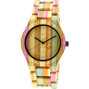 Lesara Bambus-Armbanduhr im bunten Design
