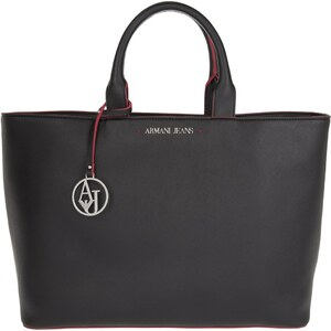 Armani Jeans Sacs portés main, Eco-Saffiano Leather Shopping Bag Nero en noir