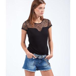 T-shirt empiècement dentelle Etam