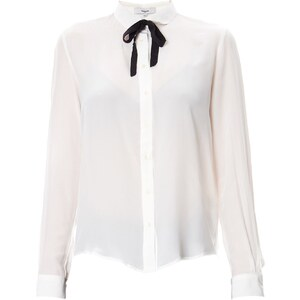 Suncoo Lilian - Chemise lavallière en soie - blanc