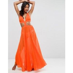 ASOS - Robe longue d'été plissée à découpe - Orange