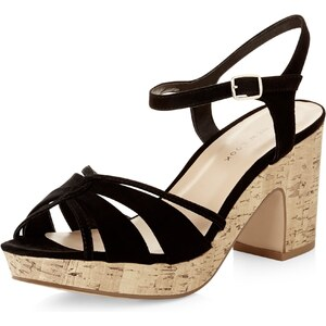 New Look Schwarze Sandalen mit Blockabsatz und gekreuzten Riemen