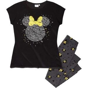 Disney Minnie Pyjama schwarz in Größe S für Damen aus 100% Baumwolle Graumelange: 90% Baumwolle 10% Viskose