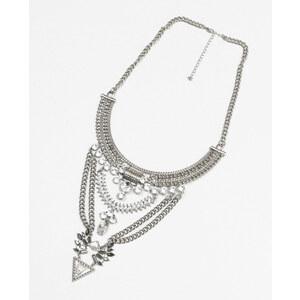 Collier plastron métal et strass gris argenté, Femme, Taille 00 -PIMKIE- MODE FEMME