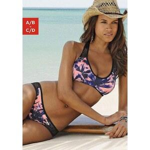Große Größen: Bustier-Bikini mit Mesh-Einsatz, sunseeker, schwarz bedruckt, Gr.32 (65)-40 (80)