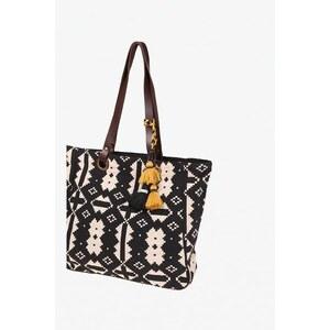 Sac shopping femme ikats Noir Cuir de buffle - Femme Taille TU - Bonobo