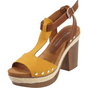 Tamaris Sandaletten mit Blockabsatz in Holzoptik