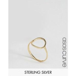 ASOS CURVE - Bague anneau ouvert en argent massif plaqué or - Doré