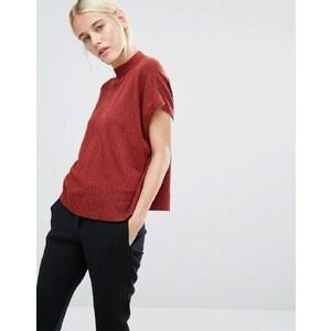 Monki - T-shirt en maille à encolure montante - Rouge