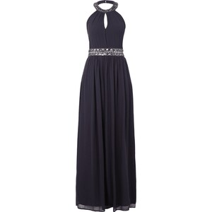 Young Couture Abendkleid mit Ziersteinbesatz am Collierkragen