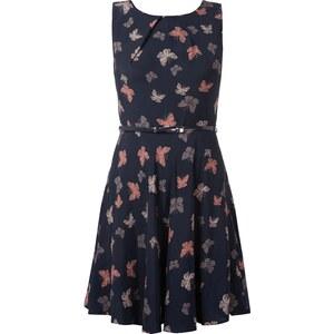 Apricot Kleid mit Schmetterlingsmuster