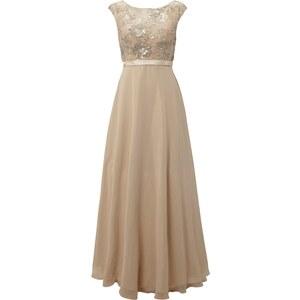 Luxuar Abendkleid mit floraler Zierborte und Taillenband