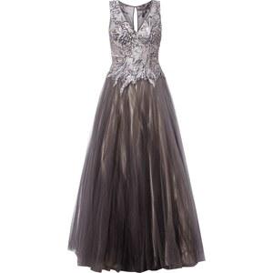 Luxuar Abendkleid aus Mesh mit Stickereien und Ziersteinen